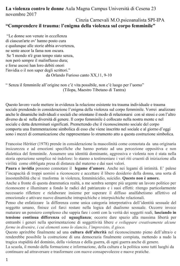 """materiali della Tavola rotonda """"La violenza contro le donne"""""""